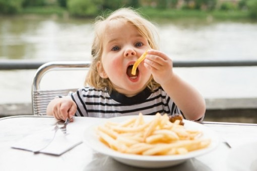 девочка есть картошку фри из макдоналдса из тарелки